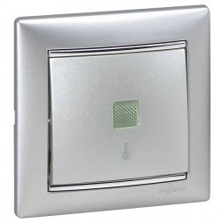 Выключатель 1-клавишный кнопочный Legrand VALENA CLASSIC, с подсветкой, скрытый монтаж, алюминий, 770113