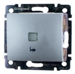 Выключатель 1-клавишный кнопочный Legrand VALENA CLASSIC, с подсветкой, скрытый монтаж, алюминий, 770115
