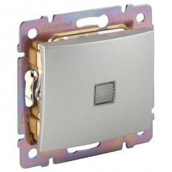 Переключатель 1-клавишный Legrand VALENA CLASSIC, с подсветкой, скрытый монтаж, алюминий, 770126