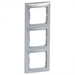 Рамка 3 поста Legrand VALENA CLASSIC, вертикальная, алюминий, 770157