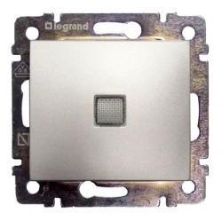 Переключатель 1-клавишный Legrand VALENA CLASSIC, с подсветкой, скрытый монтаж, алюминий, 770203