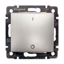 Выключатель 1-клавишный двухполюсный Legrand VALENA CLASSIC, скрытый монтаж, алюминий, 770204