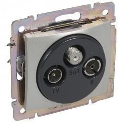 Розетка TV-FM-SAT двухкабельная Legrand VALENA CLASSIC, оконечная, алюминий, 770210