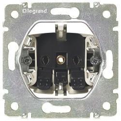 Розетка Legrand VALENA CLASSIC, скрытый монтаж, с заземлением, со шторками, алюминий, 770211