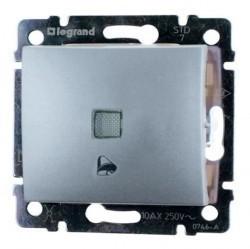 Выключатель 1-клавишный кнопочный Legrand VALENA CLASSIC, с подсветкой, скрытый монтаж, алюминий, 770215