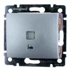 Выключатель 1-клавишный кнопочный Legrand VALENA CLASSIC, скрытый монтаж, алюминий, 770216