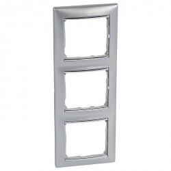 Рамка 3 поста Legrand VALENA CLASSIC, вертикальная, алюминий, 770357
