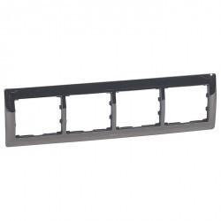 Рамка 4 поста Legrand CARIVA, горизонтальная, черный никель, 771944