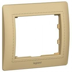 Рамка 1 пост Legrand GALEA LIFE, горизонтальная, havana светлая кожа, 771990
