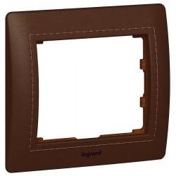 Рамка 1 пост Legrand GALEA LIFE, горизонтальная, club темно-коричневая кожа, 771995