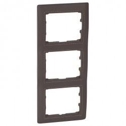 Рамка 3 поста Legrand GALEA LIFE, вертикальная, club темно-коричневая кожа, 771999
