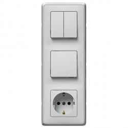 Блок: выключатель, выключатель 2-клавишный и розетка Legrand CARIVA, скрытый монтаж, белый, 773644