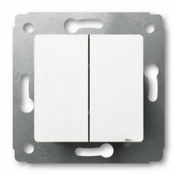 Выключатель 2-клавишный Legrand CARIVA, скрытый монтаж, белый, 773658