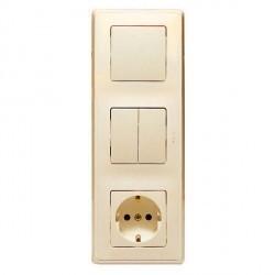 Блок: выключатель, выключатель 2-клавишный и розетка Legrand CARIVA, скрытый монтаж, слоновая кость, 773744