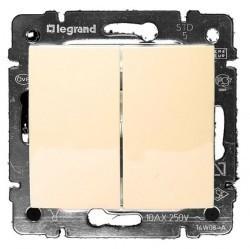 Переключатель 2-клавишный кнопочный Legrand VALENA CLASSIC, скрытый монтаж, слоновая кость, 774118