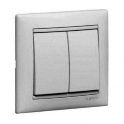 Переключатель 2-клавишный кнопочный Legrand VALENA CLASSIC, скрытый монтаж, белый, 774218