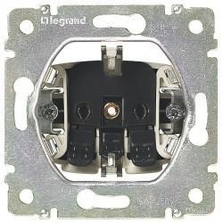 Розетка Legrand VALENA CLASSIC, скрытый монтаж, с заземлением, со шторками, белый, 774222