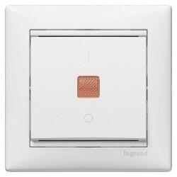Выключатель 1-клавишный Legrand VALENA CLASSIC, с подсветкой, скрытой установки, белый, 774410