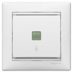 Выключатель 1-клавишный кнопочный Legrand VALENA CLASSIC, с подсветкой, скрытый монтаж, белый, 774413