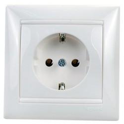 Розетка Legrand VALENA CLASSIC, скрытый монтаж, с заземлением, белый, 774423