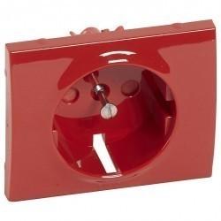 Накладка на розетку Legrand GALEA LIFE, с заземлением, с крышкой, красный, 777029