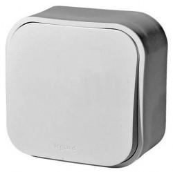 Выключатель 1-клавишный кнопочный Legrand QUTEO, открытый монтаж, белый, 782205