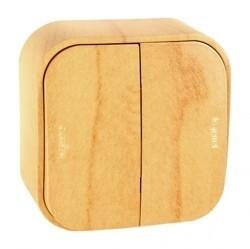 Выключатель 2-клавишный Legrand QUTEO, открытый монтаж, светло-коричневый, 782262