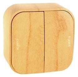Переключатель 2-клавишный Legrand QUTEO, открытый монтаж, светло-коричневый, 782266