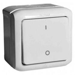Выключатель 1-клавишный двухполюсный Legrand QUTEO, открытый монтаж, белый, 782309