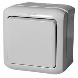 Выключатель 1-клавишный кнопочный Legrand QUTEO, открытый монтаж, серый, 782335