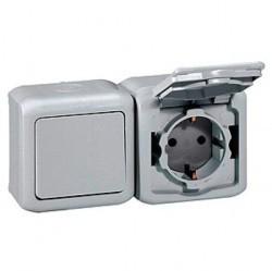 Блок: выключатель 1-клавишный и розетка Legrand QUTEO, открытый монтаж, серый, 782348
