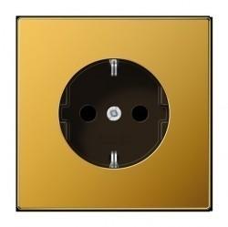 Розетка Jung LS METAL, скрытый монтаж, с заземлением, со шторками, золотой, LS1520KIGGO
