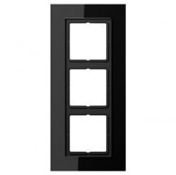 Рамка 3 поста Jung LS PLUS, черное стекло, LSP983GLSW