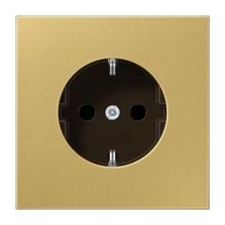 Розетка Jung LS METAL, скрытый монтаж, с заземлением, со шторками, бронзовый, ME1521KIC