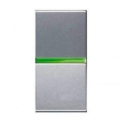 Выключатель 1-клавишный ABB ZENIT, с подсветкой, скрытый монтаж, серебристый, N2101.5 PL