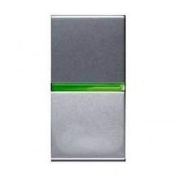 Переключатель 1-клавишный ABB ZENIT, с подсветкой, скрытый монтаж, серебристый, N2102.5 PL