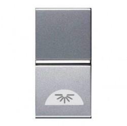 Выключатель 1-клавишный кнопочный ABB ZENIT, скрытый монтаж, серебристый, N2104.2 PL