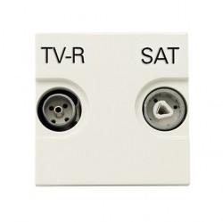 Розетка TV-FM-SAT ABB ZENIT, проходная, альпийский белый, N2251.8 BL