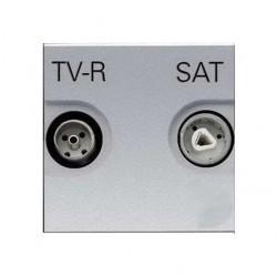 Розетка TV-FM-SAT ABB ZENIT, проходная, серебристый, N2251.8 PL