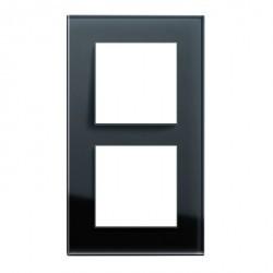 Рамка 2 поста Honeywell AURA GLAS, черное стекло, 123911