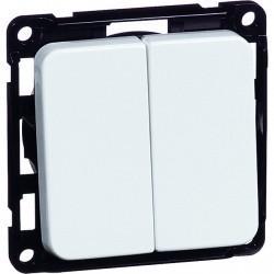 Выключатель 2-клавишный кнопочный Honeywell COMPACTA, скрытый монтаж, белый, 600411
