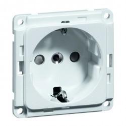 Розетка Honeywell COMPACTA, скрытый монтаж, с заземлением, со шторками, белый, 602211