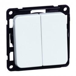 Выключатель 2-клавишный Honeywell COMPACTA, скрытый монтаж, белый, 615511