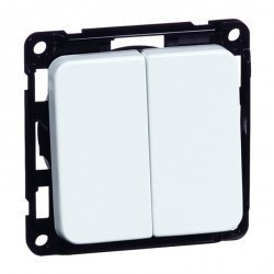 Выключатель 2-клавишный Honeywell COMPACTA, скрытый монтаж, алюминий, 622811