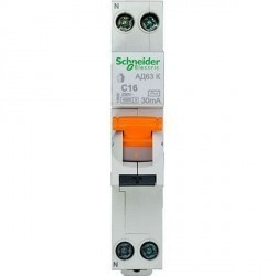 Дифавтомат Schneider Electric Домовой 2P 16А (C) 4,5кА 30мА (AC), 12522
