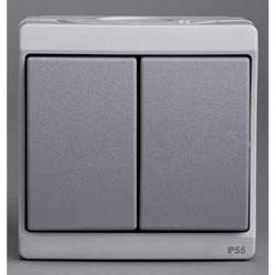 Выключатель 2-клавишный Schneider Electric MUREVA, открытый монтаж, серый, ENN35722