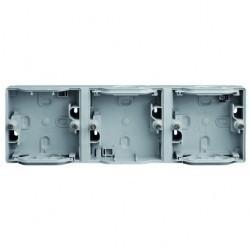 Mureva Коробка 3-ная адаптерная подъемная горизонтальная IP55, серая