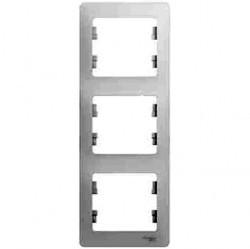 Рамка 3 поста Schneider Electric GLOSSA, вертикальная, белый, GSL000107