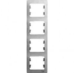 Рамка 4 поста Schneider Electric GLOSSA, вертикальная, белый, GSL000108