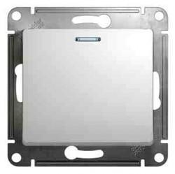 Выключатель 1-клавишный кнопочный Schneider Electric GLOSSA, с подсветкой, скрытый монтаж, белый, GSL000117